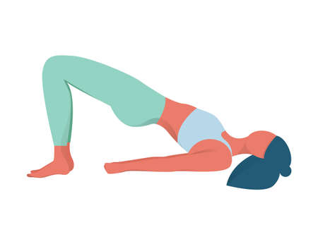 Woman in yoga position. Bridge pose. Exercise for muscular system. Body balance training. Vector flat illustration