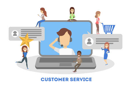 Technical support concept. Idea of customer service. Man support clients and help them with problems. Providing customer with valuable information. Flat vector illustration