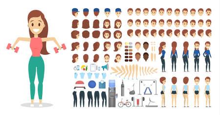 Conjunto de caracteres de deportista para la animación con varias vistas, peinado, emoción, pose y gesto. Equipo de entrenamiento. Mancuerna y barra. Ilustración de vector aislado en estilo de dibujos animados