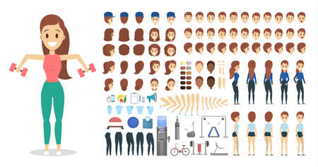 Sportsman character set for the animation with various views, hairstyle, emotion, pose and gesture. Training equpiment. Dumbbell and barbell. Isolated vector illustration in cartoon style Illustration