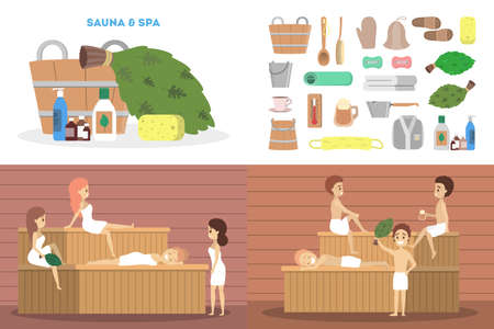 Sauna set. Wooden bathhouse. Spa and relax procedure. Different tool for sauna. Smiling people. Isolated flat vector illustration