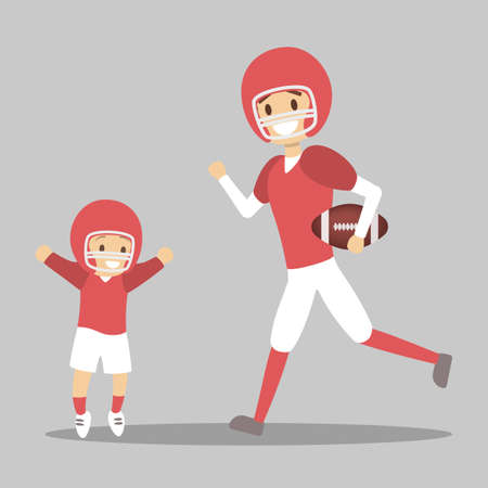 Father and son playing american football in uniform. Outdoor activity. Dad and kid together. Isolated flat vector illustration Illustration