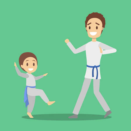 Father and son in uniform training karate moves. Family together. Sport activity and healthy lifestyle. Isolated flat vector illustration