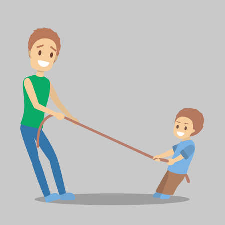 Father and son pull the rope against each other. Sport activity and competition. Isolated flat vector illustration