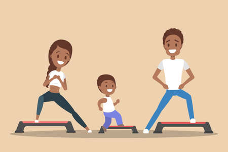 Parents and children doing workout in gym. Sport exercise and training. Healthy active lifestyle. Isolated flat vector illustration Illustration