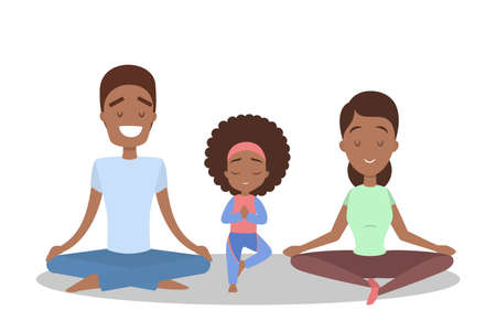 Mother, father and daughter doing yoga exercise. Healthy and active lifestyle. Parent and child in meditate in lotus position. Isolated flat vector illustration