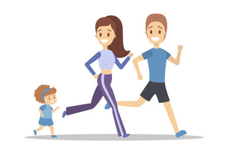 Family jogging. Healthy and active family lifestyle. Mother, father and daughter run. Sport exercise outdoor. Isolated flat vector illustration Illustration