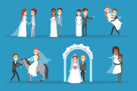 Couple wedding set. Collection of bride with bouquet and groom. Romantic people and white dress for ceremony. Isolated flat vector illustration