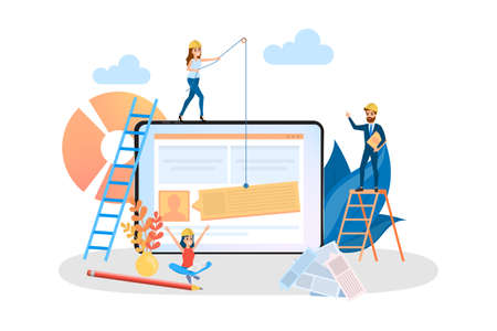 Website development web banner. Support and development team. Modern technology and smartphone. Isolated flat vector illustration