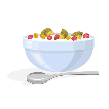 Delicious muesli with berry and fruit for breakfast. Food in a bowl. Tasty meal with milk. Isolated vector illustration in cartoon style
