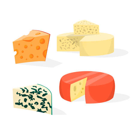 Cheese set. Collection of different types of cheese. Cheddar, gouda, blue cheese and parmesan. Tasty yellow meal. Vector illustration in cartoon style Ilustração