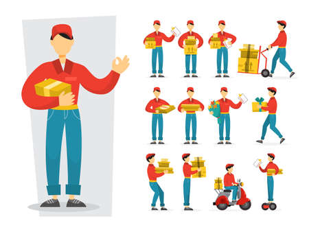 Set of delivery man. Collection of courier in uniform holding box. Character in a cap. Delivery service. Vector illustration in cartoon style
