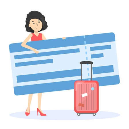 Happy woman holding in hand big air ticket. Idea of tourism and transportation. Isolated vector illustration in cartoon style