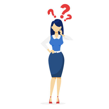 Woman with question mark above. Idea of doubt and confusion. Girl thinking. Isolated vector illustration in cartoon style. Doubtful lady. Illustration