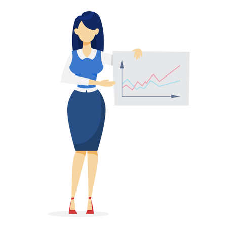 Woman making business presentation. Presenting business plan on seminar. Vector illustration in cartoon style Çizim
