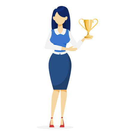 Happy woman in suit holding trophy cup. Golden business award. Achievement and success. Leader celebrating victory. Vector illustration in cartoon style