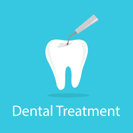 Tooth treating with drill. Idea of dental and oral care. Caries treatment. Drilling tooth. Isolated flat vector illustration