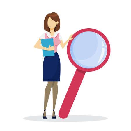Femme d'affaires avec loupe. Recherche et expertise d'entreprise. Personnage féminin en costume avec loupe. Illustration vectorielle en style cartoon