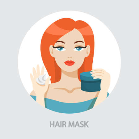 Woman applying hair mask. Cometics for beauty and health. Person in bathroom use hair care product. Isolated vector illustration in cartoon style