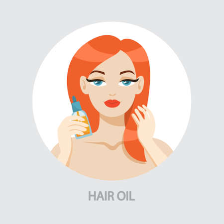 Woman applying hair oil. Cometics for beauty and health. Person in bathroom use hair care product. Isolated vector illustration in cartoon style