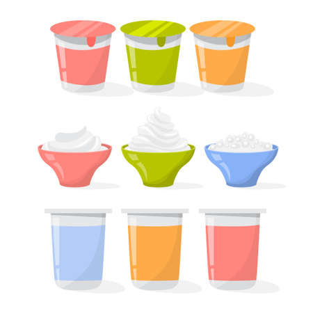 Yogurt set. Collection of cream product in a plastic cup. Dairy food. Delicious yoghurt. Vector illustration in cartoon style