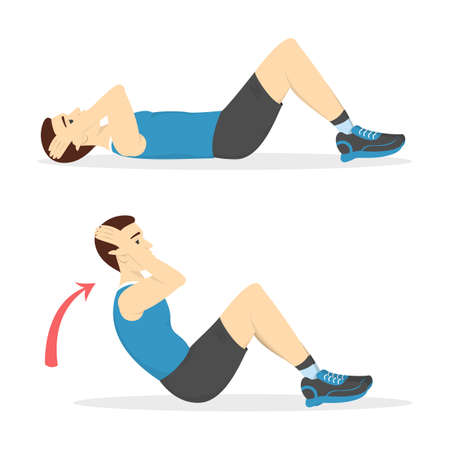 Man doing crunches in the gym. Belly burn workout. Guy make exercise. ABS workout. Healthy and active lifestyle. Isolated vector illustration 일러스트
