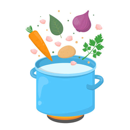 Chciekn soup ingredients. Onion, carrot and meat falling in pot. Recipe for dinner or lunch. Isolated vector illustration in cartoon style Illustration