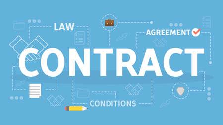 Contract concept. Idea of legal agreement and document Ilustración de vector