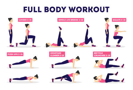 Full body workout set. Exercise for woman. Weight loss and slim shape. Idea of sport and healthy lifestyle. Isolated vector illustration in cartoon style