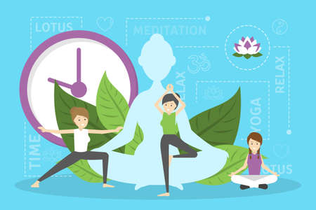 Meditation concept. Idea of body health and relax. Relaxation in lotus position. Mind wellness. Vector illustration in cartoon style Illusztráció