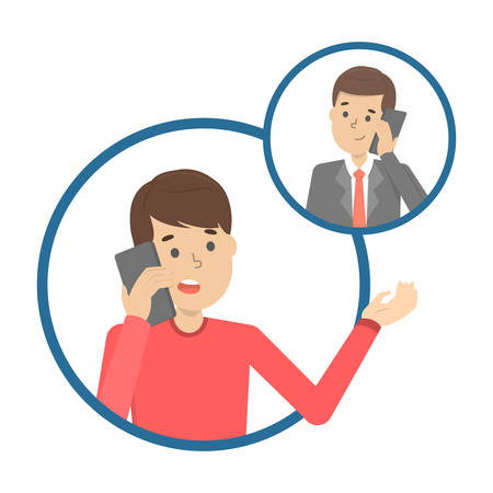 Mobile phone conversation between two people. Communication and dialog concept. Isolated vector illustration in cartoon style