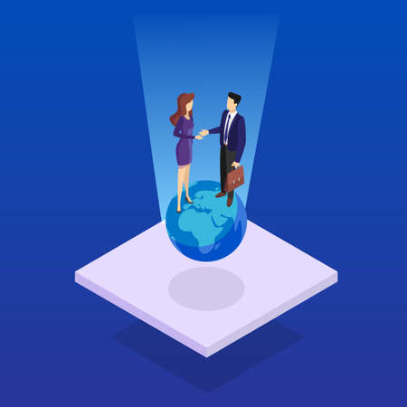 Two people shaking hands. Business deal and partnership. Idea of teamwork and agreement. Isolated vector isometric illustration