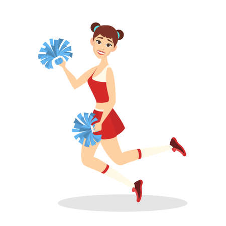 Beautiful cheerleader standing in uniform with pompoms and smiling. Female character. American football team support. Pretty teenager dancing. Isolated vector illustration in cartoon style Ilustração