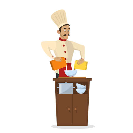 Restaurant chef cooking. Man in apron making tasty dish. Professional worker on the kitchen. Isolated vector illustration in cartoon style