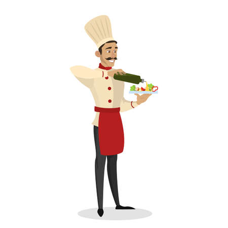 Restaurant chef cooking. Man in apron making tasty salad. Professional worker on the kitchen. Isolated vector illustration in cartoon style