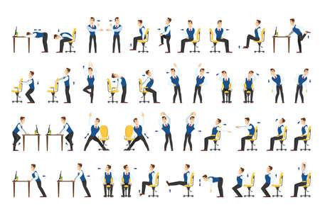 Ensemble d'exercices de bureau. Entraînement corporel pour employé de bureau. Étirement du cou, des épaules et du dos. Illustration de dessin animé de vecteur isolé Vecteurs