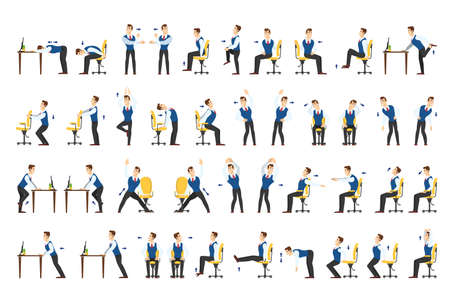 Office exercise set. Body workout for office worker. Neck, shoulder and back stretch. Isolated vector cartoon illustration