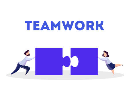Business teamwork concept. Idea of partnership and cooperation. Connection and communication. Puzzle as metaphor of unity and solution. Isolated vector illustration in cartoon style