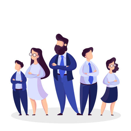 Business team standing in suit. Group of businessmen. Leader of the team and office worker. Isolated vector illustration in cartoon style Ilustração