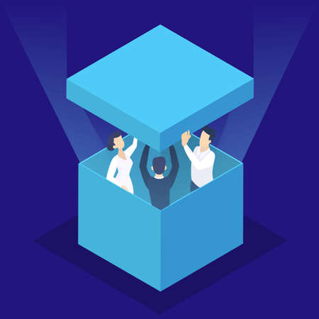Think outside the box web banner. Idea of creative thinking and innovation. Brainstorm and creativity. Isolated vector isometric illustration