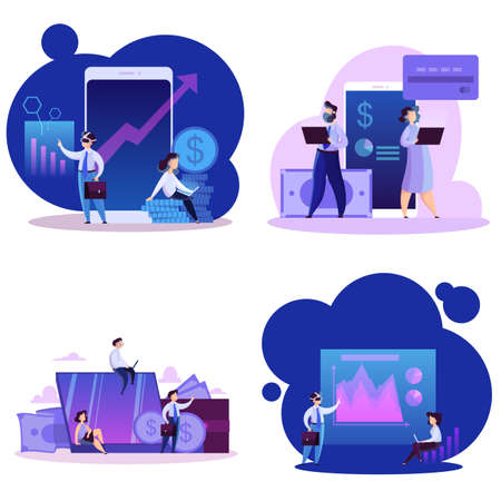 Virtual business concept set. Modern technology and internet. Online communication and remote management. Isolated vector illustration in cartoon style Çizim