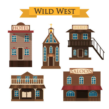 Wild west architecture. Saloon, hotel and sheriff