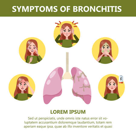 Bronchitis symptoms infographic. Chronic disease. Cough and fatigue, headache and fever. Bronchial infection. Vector illustration in cartoon style Stock Vector - 124592965