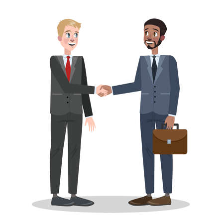 Two people shaking hands. Business deal and partnership between men. Idea of teamwork and agreement. Vector illustration in cartoon style