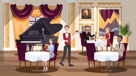 Teures Restaurant-Interieur in einem Hotel mit Menschen im Inneren. Besucher, die am Tisch sitzen und zu Mittag oder zu Abend essen. Flache Vektorillustration Vektorgrafik