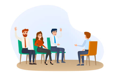 Business training in conference room. Team on seminar. Professional teacher give a lecture. Isolated vector illustration in cartoon style.