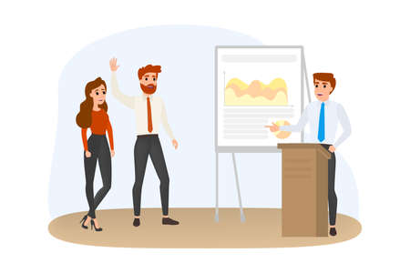 Uomo che fa presentazione aziendale davanti a un gruppo di persone. Presentazione del business plan sul seminario. Formazione e istruzione. Illustrazione vettoriale isolato in stile cartone animato.