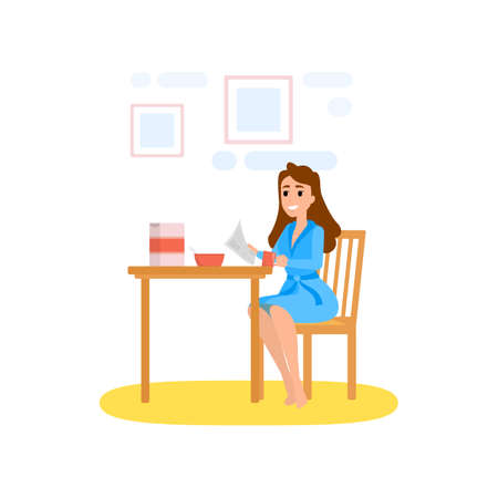 Woman having breakfast in the morning at home. Young female eating food. Daily routine. Vector illustration in cartoon style