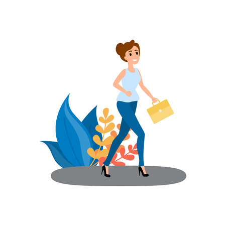 Young beautiful woman with yellow briefcase go to the work in the morning. Professional worker smiling. Walking on the street. Vector illustration in cartoon style Illustration