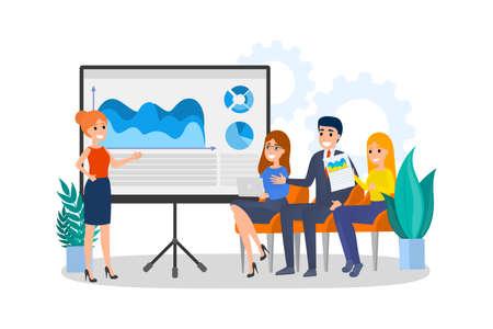 Mujer haciendo presentación de negocios frente a un grupo de personas. Presentación de plan de negocios en seminario. Entrenamiento y educación. Ilustración vectorial plana